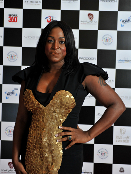 Star guest Mica Paris on the red carpet at the Abu Dhabi Chequered Flag Ball