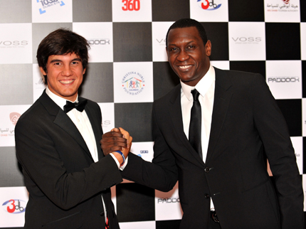 Italian golfing star Matteo Manassero and former England and current Aston Villa striker Emile Heskey at the Abu Dhabi Chequered Flag Ball