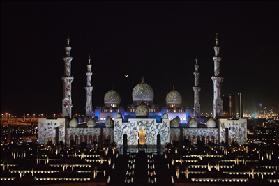 Sheikh Zayed Grand Mosque lit up in stunning light display